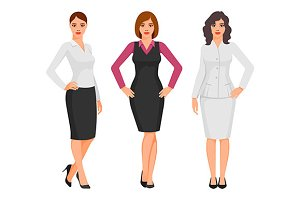women in elegant office clothes
