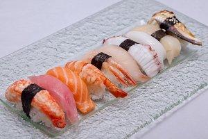 Set of nigiri sushi on plate