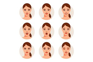 Woman`s different facial expressions