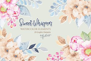 Sweet Whispers - watercolor elements