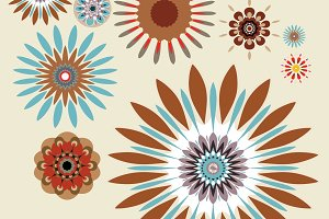 Retro Sunburst Flowers