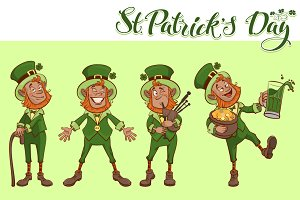 St Patricks day. Set fun cartoon man