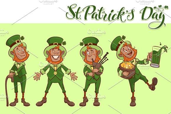 St Patricks Day Set Fun Cartoon Man