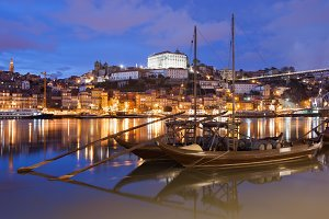 Porto City and Douro River at Night