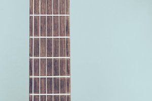 Fingerboard of old classical guitar