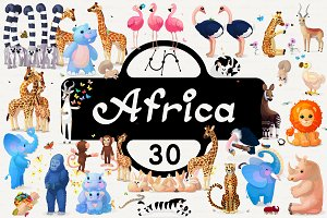 ♥ vector set animals of Africa