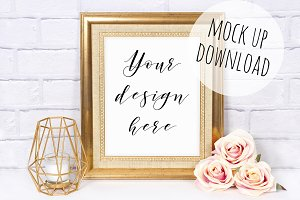 Gold Frame Mockup Styled Photo
