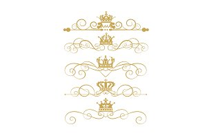 Gold Element Vintage Vector Set