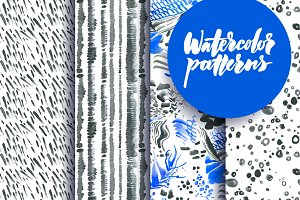 Set of watercolor patterns
