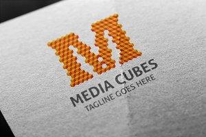 Media Cubes (Letter M) Logo