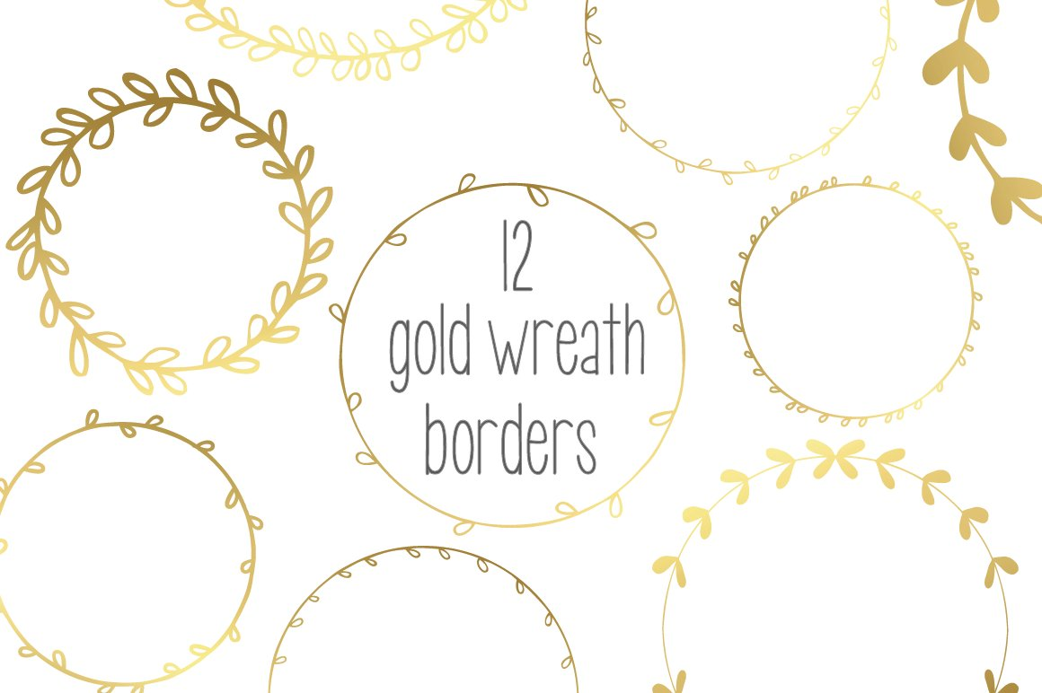 Gold Wreath Garlands Vector