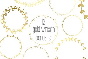 Gold Wreath Garlands // Vector, PNG