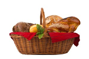 Bread and buns in wicker basket