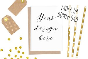 Gold Card or Invite Mockup Party