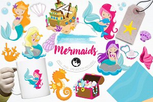 Mermaid illustration pack