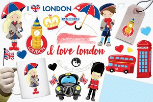 I love London illustration pack