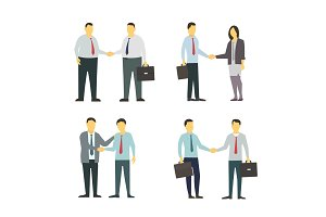 Two men shake each other hands. Business style. Flat graphics for your design.