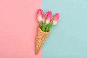 Tulip flowers ice cream waffle cone