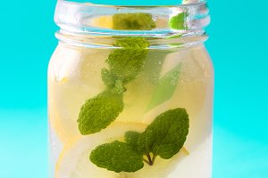 Lemonade drink in a jar glass