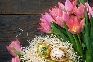 Golden Easter Eggs and Pink Tulips