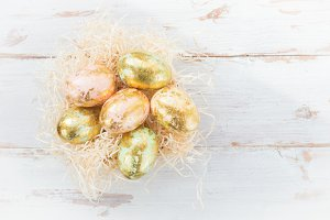 Easter Eggs on Light Background