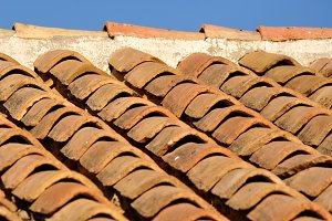 Clay tiles on roof