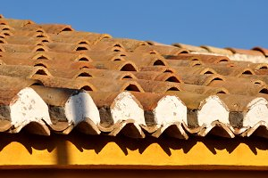 Clay tiles on roof and
