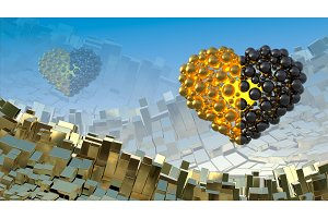 Hearts made of golden and black flying in the space over abstract mountain landscape background of metal boxes. Decorative greeting postcard for international Woman's Day. 3d illustration