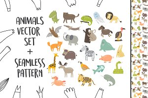 Animals vector set + pattern