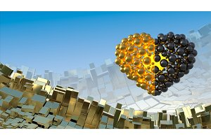 Heart made of golden and black flying in the space over abstract mountain landscape background of metal boxes. Decorative greeting postcard for international Woman's Day. 3d illustration