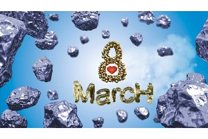 8 March symbol. Figure of eight made of spheres flying in the space with asteroids. Can be used as a decorative greeting grungy or postcard for international Woman's Day. 3d illustration