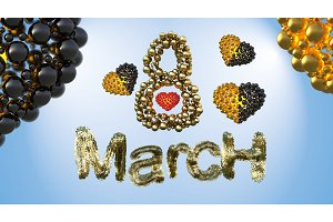 8 March symbol. Figure eight made of spheres and fur flying in the air with gold black hearts . Can be used as a decorative greeting or postcard for international Woman's Day 3d illustration