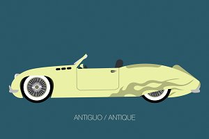 Side View Old American Classic Car Illustrations Creative Market