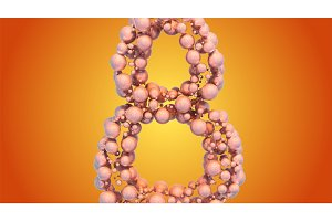 8 March symbol. Figure of eight made of spheres flying in the space. Can be used as a decorative greeting grungy or postcard for international Woman's Day. 3d illustration