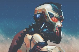 Digital illustration art of cyborg