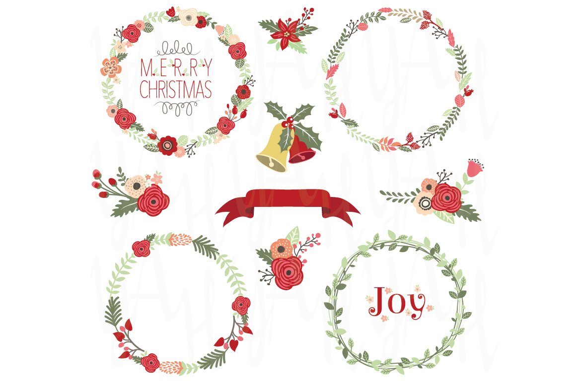 Christmas Wreath Clip Art ~ Illustrations ~ Creative Market