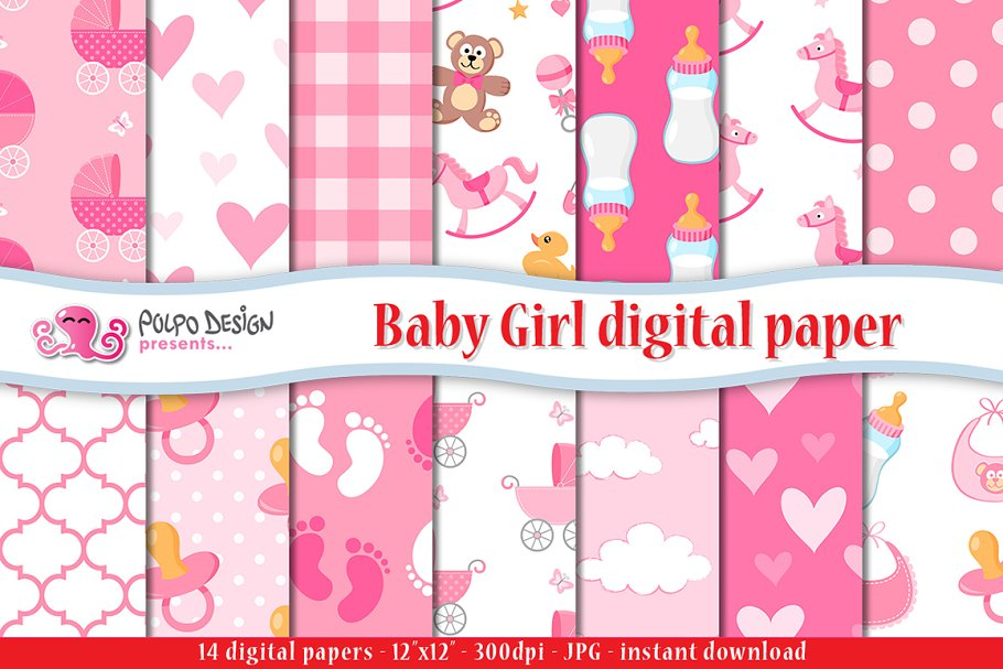 d7345660fbd Baby Girl digital paper ~ Graphic Patterns ~ Creative Market