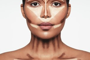 Professional contouring face makeup