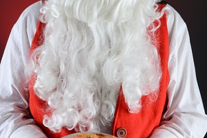 Santa Claus Serving Pie