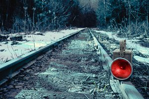 Red train signal lamp