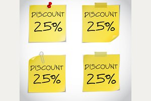 Discount text 75%, 25%, 50%