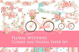 Floral Wedding Clipart+Pattern set