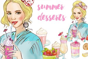 girl and desserts. illustration