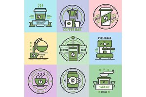 Coffee badge logo food design thin line lettering for restaurant, cafe menu coffee house and shop element beverage label sticker vector illustration.