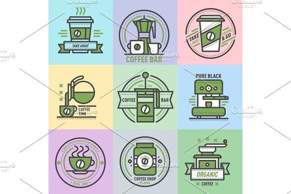 Coffee Badge Logo Food Design Thin Line Lettering For Restaurant Cafe Menu Coffee House And Shop Element Beverage Label Sticker Vector Illustration