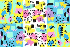 Universal memphis seamless pattern endless abstract fills style and surface textures colorful geometric ornament background vector illustration.