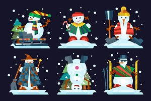 Winter holidays snowman cheerful character in cold season costume and snow xmas celebration greeting december joy ice icon vector illustration.