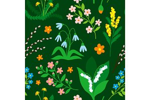 Nature flower wreath illustration seamless pattern background vector