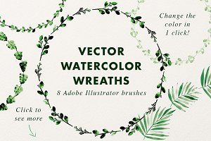 Vector Watercolor Wreaths (brushes)