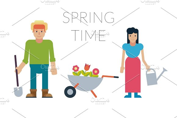 Family man and woman with potted flowers and gardening equipment isolated on a white background